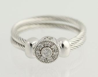 Diamond Ring - 18k White Gold Size 4 3/4 Women's .08ctw L9813