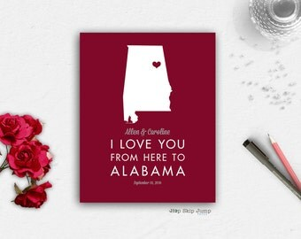 Unique Anniversary Gift - alabama crimson tide - personalized wedding - unique wedding gift - anniversary print --home state