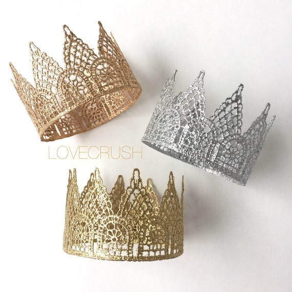 Ready to Ship    LoveCrush Original Lace Crown     Gold, Silver, Rose Gold    headband option   