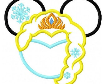 Elsa Frozen Mouse Ears for a Disney vacation Embroidered/Appliqued Tee