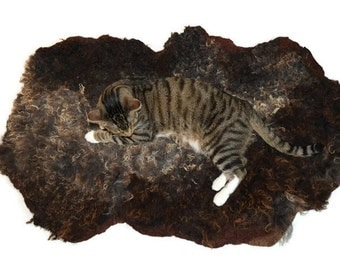Cat Bed - Pet Bed - Cruelty Free Felted Wool Fleece - Border Leicester/Finn Cross - Supporting US Small Farms - Ready to Ship