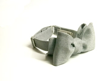 Men's bow tie - grey finest italian wool bow tie autumn winter wedding bow tie with a touch of shimmer