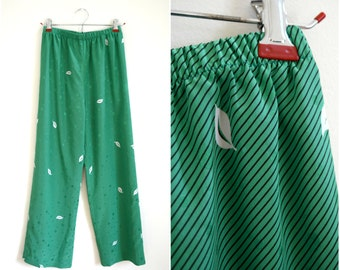 Vintage Lihli at Saks Fifth Avenue green silk striped pajama style pants with a polka dot and leaves print