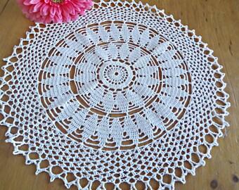 Crocheted Doily Vintage White Large Doilies Centerpiece Lot D102