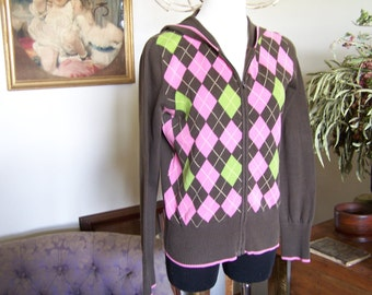 VTG Tommy Hilfiger M Hoodie Argyle Brown&Pink Zipper Cardigan Rock and Roll Sweater