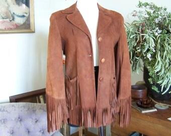VTG 1940s GERONIMO Doeskin Suede Leather Cowgirl Fringe Jacket DENVER