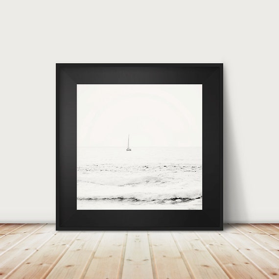 boat photography, black and white photography, ocean, sea, landscape photograph, waves, nautical decor