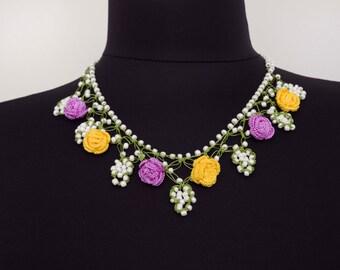 Bip necklace,Crochet bead work necklace