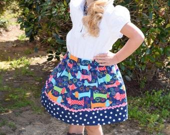 Dachshund Days  Skirt (18 mos, 24 mos,  2T, 3T, 4T, 5 ,6, 7)