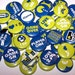 """Video Gamer Party Favors Set of 10 Buttons 1"""" or 1.5"""" Pin Back Buttons or 1"""" Magnets Blue Lime Green"""