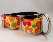 Yellow Floral Martingale Dog Collar