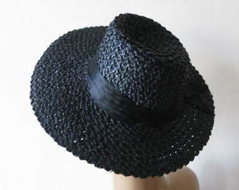 stunning 1930s vintage black sun hat with asymmetrical brim and satin hatband ribbon