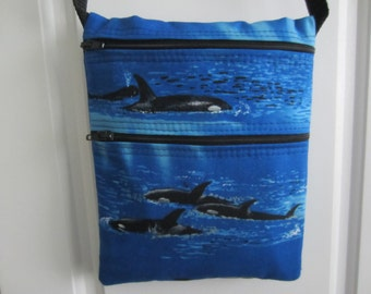 Cross Body Bag, Travel Purse, Sling Purse, Hip Bag, Shoulder Bag, Compact Purse, 2 Pocket Purse, Blue with Orcas, Women's/Teen Purse