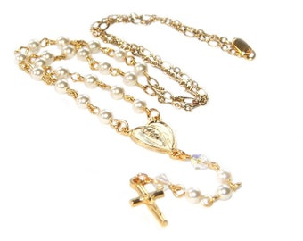 Baptism Gift, White Swarovski® Pearl & Gold Cross Rosary Necklace