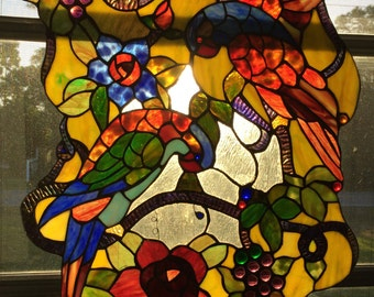 Hand Crafted Tropical Birds Flowers Leaves Grapes Stained Glass Hanging Window Panel