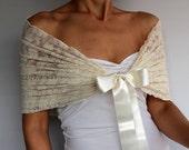 Cream Bridal Shrug, Lace Shawl Bolero, Evening Shoulder Wrap, Shabby Chic Wedding Dress Cover-up, Romantic Modern Wedding