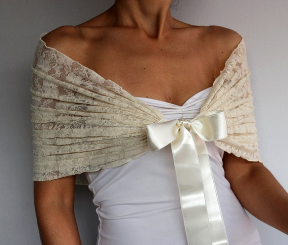 beige lace bridal shrug shawl bolero cream evening shoulder. Black Bedroom Furniture Sets. Home Design Ideas