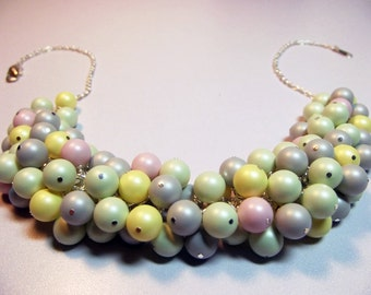 Swarovski Pastel Pink Yellow Gray Green Pearl Cluster Necklace, Mom Sister Grandmother Bridesmaid Jewelry Gift, Chunky Necklace