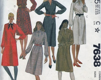 Straight Line Sack Dress - V Neckline Long Sleeve - Size 12-14-16 - UNCUT - Sewing Pattern McCall's 7638