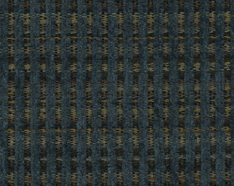Woven Soft Striped Chenille Upholstery Fabric - Economical, Durable, Easy Clean - Color: Gable Denim - Per yard