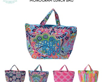 Insulated Lunch Bag with Monogram/ Lunchbox
