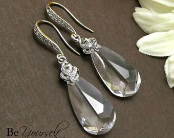 Clear Crystal Bridal Earrings Teardrop Bride Earrings Swarovski Crystal Wedding Earrings Bridesmaid Gift Cubic Zirconia Wedding Jewelry CZ