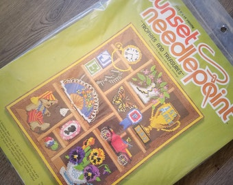 1980s Sunset Needlepoint Kit Trophies and Treasures Shadow Box 11 X 14 Vintage Crafts New Sealed