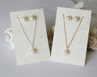 Wedding pearl gift SET- Pearl Necklace Earrings SET- Bridesmaid gift SET- Wedding jewelry set- Bridesmaid jewelry- Wedding gift set- Bridal