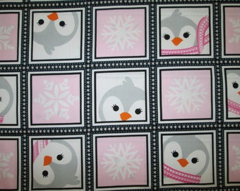 Penguins Snowflake Squares Pink Cotton Fabric Fat Quarter or Custom Listing