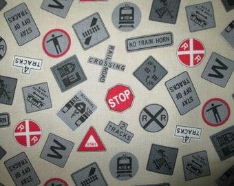 Trains Signs Railroad Locomotive Cream Cotton Fabric Fat Quarter or Custom Listing