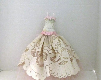 Creme Pink Mixed Media Art Gown Assemblage