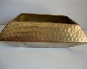 Vintage Brass Planter, Hammered Brass Rectangular Planter