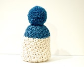 Winter hat, Pom Pom hat, Crochet hat, Knit hat, White hat, Slouchy hat, beanie, winter beanie (The Color Dipped Hat)