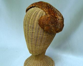 Vintage Ladies Pheasant Feather Hat Close Hat Autumn Colors