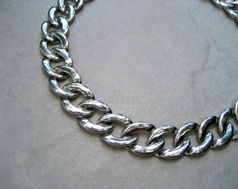 Vintage Signed Napier Choker Necklace Chain Link Silver Tone Mid Century