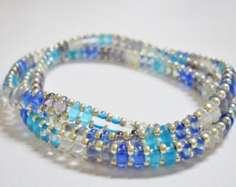Bracelet, Triple Wrap Beaded,  Handmade, Colors of the Ocean, Blues, turquoise, muted crystal Super Duos, silver Seed Beads,  Magnetic clasp
