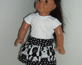 18 inch doll Cat Outfit with layered skirt and T'shirt
