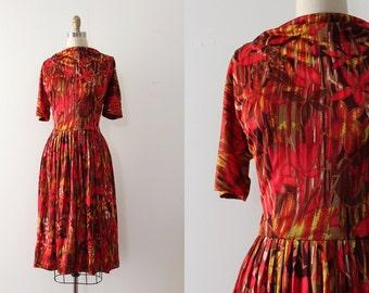 vintage 1960s dress // 60s red nylon dress