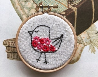 embroidery kit // Bert ate too many flowers - fat bird embroidery kit