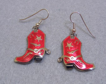 Vintage Over the Top  Berebi Red and Gold Cowboy Boot Pierced Earrings