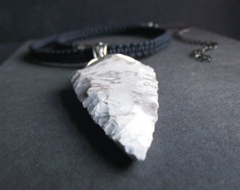 Jasper Arrowhead Necklace:  Marbled Stone Men's Necklace, Charcoal Black Cord Necklace, Tribal Unisex Jewelry, Hipster Choker