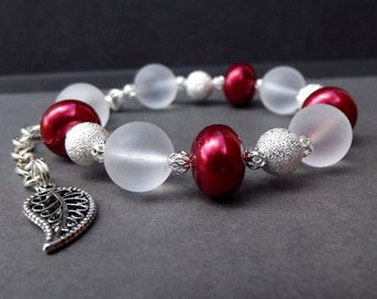 Red Pearl Bracelet with FREE Matching Earrings:  Frosted White Glass Beaded Bracelet, Silver Sparkle Adjustable Bracelet