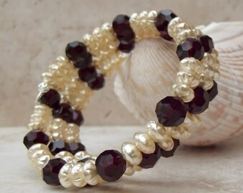 Pearl Wrap Bracelet:  Red Garnet Stacked Cuff, Christmas Accessory, Holiday Party Jewelry, Memory Wire Bracelet, December Wedding Jewelry