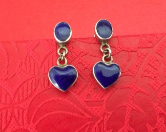 A Cleoni Sterling Silver and Deep Blue Lapis Stone Oval and Heart Dangle Pierced Stud Earrings