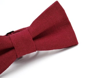 Boys Bowtie in Brick Red Linen, Maroon Bow Tie, Kids Red Bow Tie, Burgundy Bow Tie