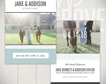 Save The Date Card Template: Beginnings Card B - 5x7 Engagement Card Template