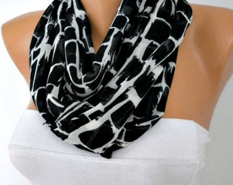 ON SALE - Black & White Chiffon Infinity Scarf Christmas Gift Cowl Scarf Circle Loop Scarf  Gift Ideas For Her Women Fashion Accessories