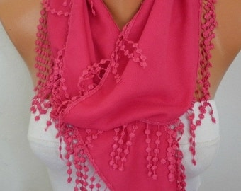 Hot Pink Scarf,Fall Summer Accessories Pashmina Scarf,easter- Shawl Scarf -  Cowl Scarf  Bridesmaid Gift For Her Women Fashion - fatwoman