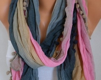 Spring Ombre Scarf Mother's Day Gift Shawl Batik Design Cowl Scarf bridesmaid gift Gift Ideas For Her Women fashion Accessories Pompom Scarf