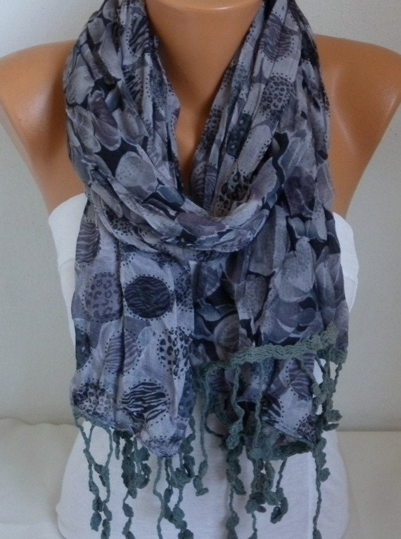 Gray Floral Soft Scarf,Summer Shawl, Cowl Beach Wrap Gift Ideas For Her Women Fashion Accessories Women Scarves,Teacher Gift